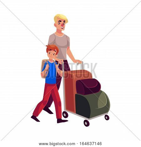 Young man pushing airport luggage trolley with his son cartoon illustration isolated on white background. Young father and son going on vacation in the airport