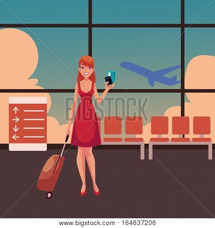 Young pretty woman in red dress with suitcase, ticket and passport in airport terminal interior with a view of airplane. Full length portrait of beautiful girl, woman traveler with luggage, suitcase