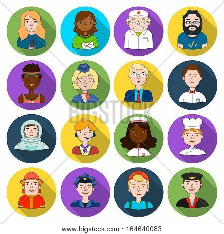 People of different profession set icons in flat design. Big collection of people of different profession vector symbol stock illustration