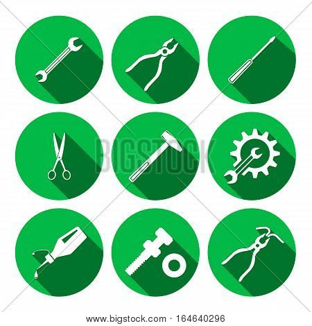 Tools icons set. Glue, pliers, tongs, wrench key, cogwheel, hammer, screw bolt, nut, scissors. Repair, fix tool symbols. Round green colored circle flat signs with long shadow. Vector