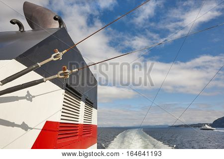 Norwegian ferry detail. Norway fjord landscape. Travel background. Tourism