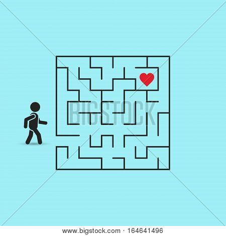 Love maze concept. Man is going through the Labyrinth to Heart. Vector valentine Illustration.