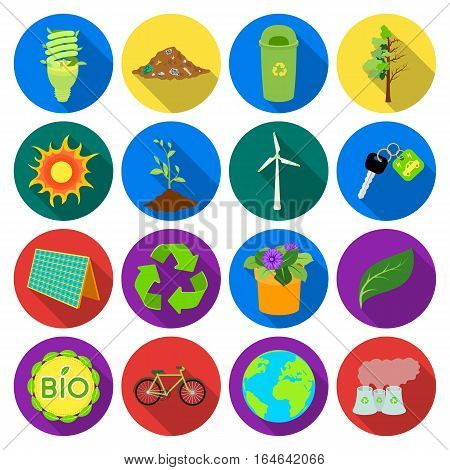 Bio and ecology set icons in flat design. Big collection of bio and ecology vector symbol stock illustration