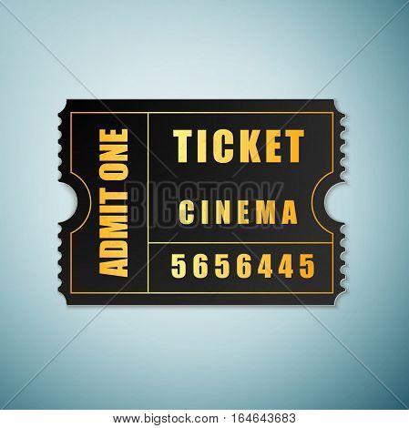 Cinema ticket icon isolated on blue background. Vector Illustration