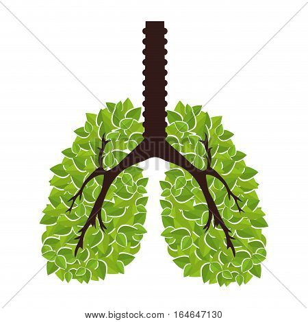 Ecological lungs isolated icon vector illustration design
