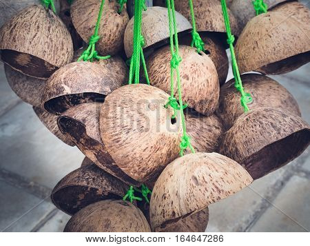 Thai toys made from coconut shell, By walking on coconut shell. Original thai toy