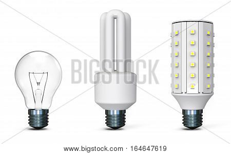 Different light bulbs on white background 3D rendering