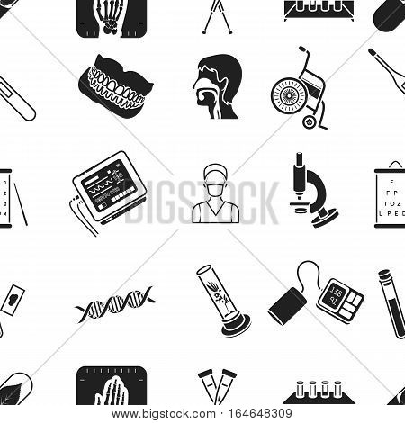 Medicine and hospital pattern icons in black style. Big collection of medicine and hospital vector symbol stock