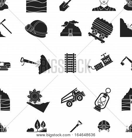 Mine pattern icons in black style. Big collection of mine vector symbol stock