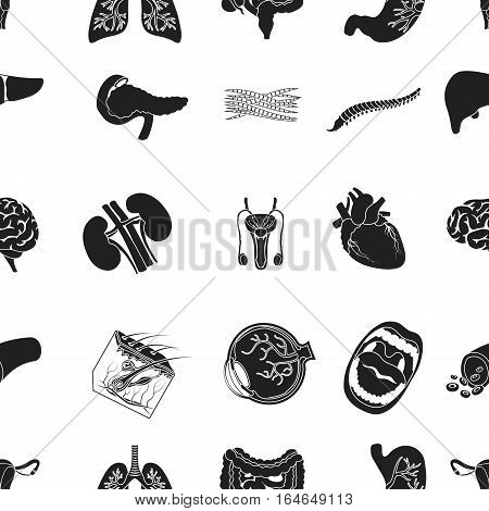 Organs pattern icons in black style. Big collection of organs vector symbol stock