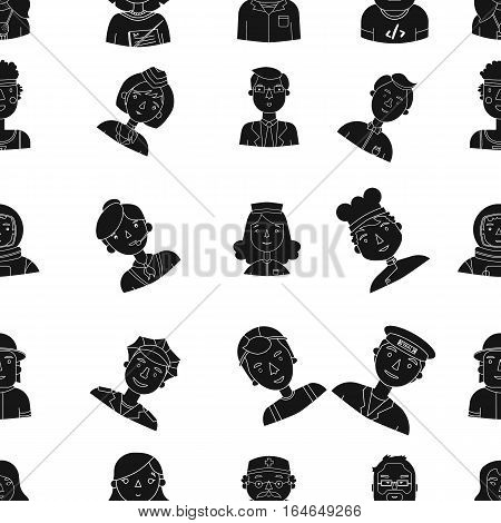 People of different profession pattern icons in black design. Big collection of people of different profession vector symbol stock illustration