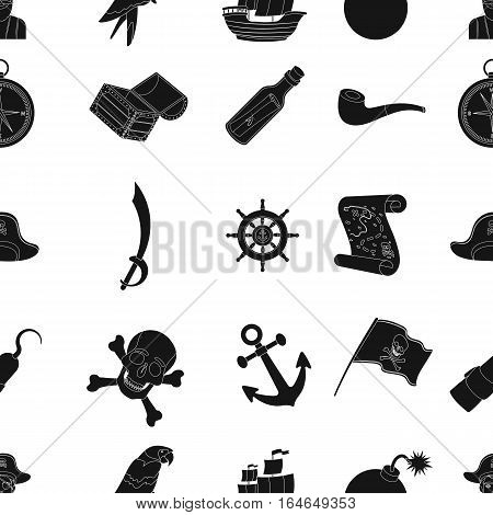 Pirates pattern icons in black design. Big collection of pirates vector symbol stock illustration