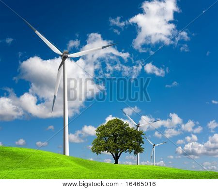 Wind turbines farm on hill