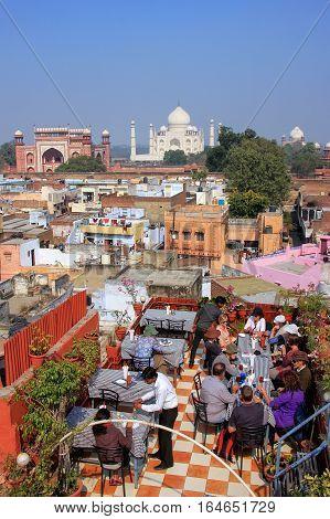 Agra, India - January 28: View Of Taj Mahal From The Rooftop Restaurant In Taj Ganj Neighborhood On