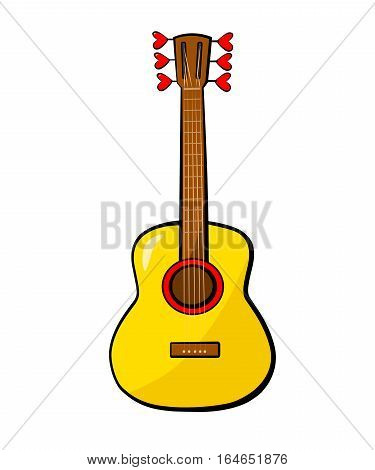 Guitar, hearts. Vector colored Sticker, icon, patch badge isolated on white. Romance music concept for Valentine's Day card, wedding poster. Hand drown vector illustration. Doodle cartoon, comic style