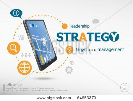 Strategy Word Cloud Concept And Realistic Smartphone Black Color.
