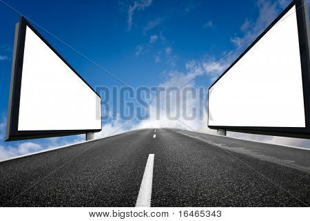 Highway and two empty billboards