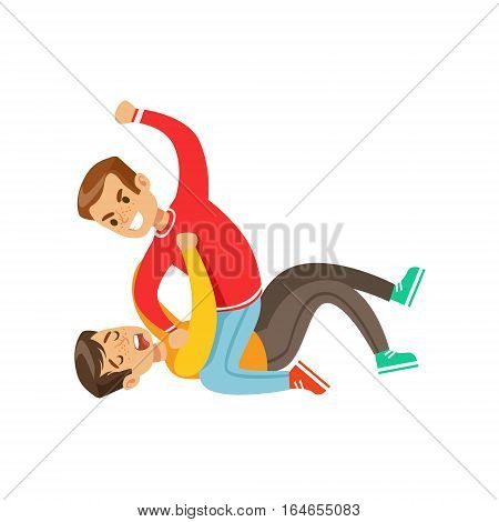 Two Boys Fist Fight Positions, Aggressive Bully In Long Sleeve Red Top Fighting Another Kid Laying On The Floor. Flat Vector Teenage Aggression And Conflict Resulting In Street Fight Illustration.