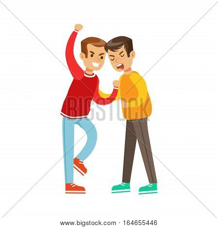 Two Boys Fist Fight Positions, Aggressive Bully In Long Sleeve Red Top Fighting Another Kid Holding Him By Shirt. Flat Vector Teenage Aggression And Conflict Resulting In Street Fight Illustration.