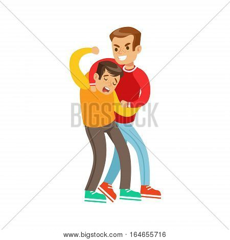 Two Boys Fist Fight Positions, Aggressive Bully In Long Sleeve Red Top Fighting Another Kid Using Strangling Technique. Flat Vector Teenage Aggression And Conflict Resulting In Street Fight Illustration.