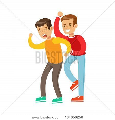 Two Boys Fist Fight Positions, Aggressive Bully In Long Sleeve Red Top Fighting Another Kid Who Is Weaker And Crying. Flat Vector Teenage Aggression And Conflict Resulting In Street Fight Illustration.
