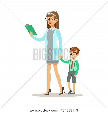 Kid On Medical Check-Up With Female Pediatrician Doctor Doing Physical Examination Walking Holding Hands For The Pre-School Health Inspection. Young Child On Medical Appointment Checking General Physical Condition Illustration.