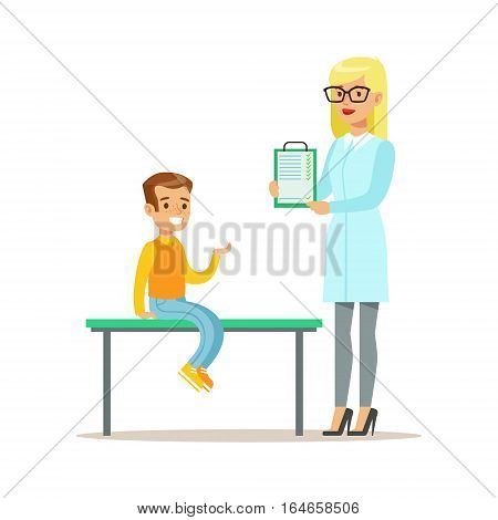 Boy On Medical Check-Up With Female Pediatrician Doctor Doing Physical Examination With Clipboard For The Pre-School Health Inspection. Young Child On Medical Appointment Checking General Physical Condition Illustration.