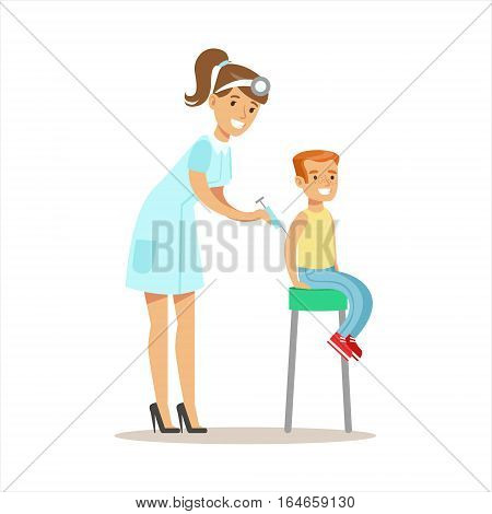 Boy Getting Vaccinated On Medical Check-Up With Female Pediatrician Doctor Doing Physical Examination For The Pre-School Health Inspection. Young Child On Medical Appointment Checking General Physical Condition Illustration.