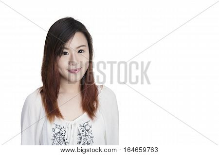 Portrait of Young Asian Woman Isolated on white background with Copy Space
