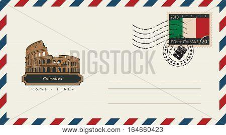 an envelope with a postage stamp with Roman Coliseum and the flag of Italy