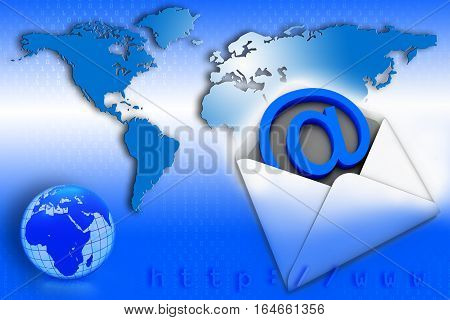 Global mail communication on blue world map