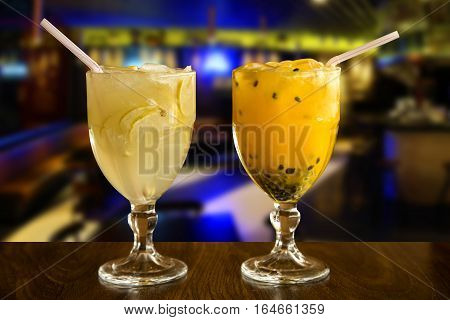 Lemon And Passion Fruit Caipirinha Of Brazil On Wooden Background
