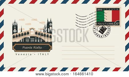 an envelope with a postage stamp with Venice Puente Rialto and the flag of Italy
