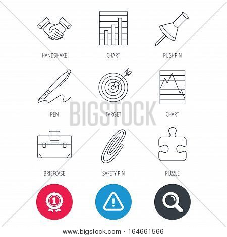 Achievement and search magnifier signs. Handshake, graph charts and target icons. Puzzle, pushpin and safety pin linear signs. Briefcase and pen flat line icons. Hazard attention icon. Vector