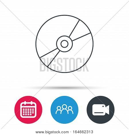 CD or DVD icon. Multimedia sign. Group of people, video cam and calendar icons. Vector