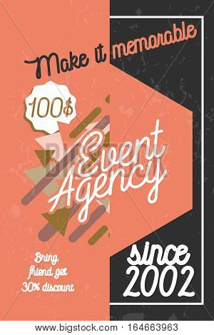Color vintage agency banner of events and special occasions organization, catering service agency, marketing agency.