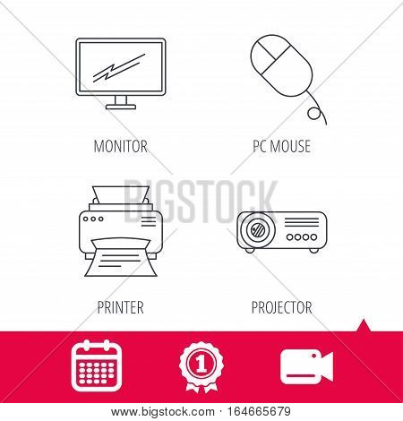 Achievement and video cam signs. Monitor, printer and projector icons. PC mouse linear sign. Calendar icon. Vector