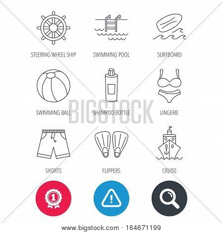 Achievement and search magnifier signs. Surfboard, swimming pool and trunks icons. Beach ball, lingerie and shorts linear signs. Flippers, cruise ship and shampoo icons. Hazard attention icon. Vector