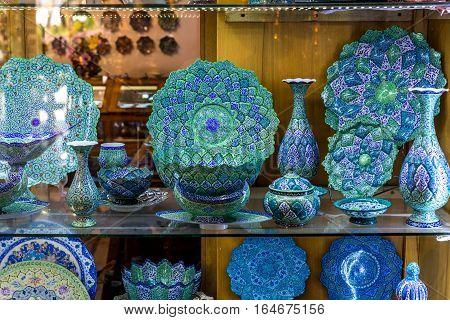 Isfahan Iran - October 20 2016: Persian handicrafts for sale on Great Bazaar in Isfahan city Iran