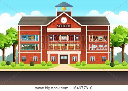 A vector illustration of school education building