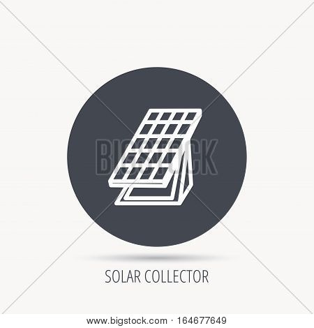 Solar collector icon. Sunlight energy generation sign. Innovation battery power symbol. Round web button with flat icon. Vector