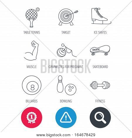 Achievement and search magnifier signs. Target, table tennis and fitness sport icons. Skateboard, muscle and bowling linear signs. Ice skates, billiards and gymnastics icons. Hazard attention icon
