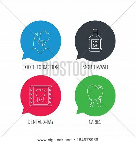 Colored speech bubbles. Tooth extraction, caries and mouthwash icons. Dental x-ray linear sign. Flat web buttons with linear icons. Vector