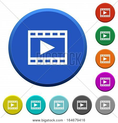 Play movie round color beveled buttons with smooth surfaces and flat white icons