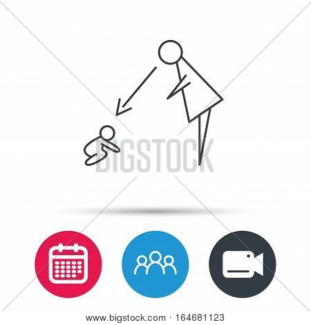 Under nanny supervision icon. Babysitting care sign. Mother watching baby symbol. Group of people, video cam and calendar icons. Vector