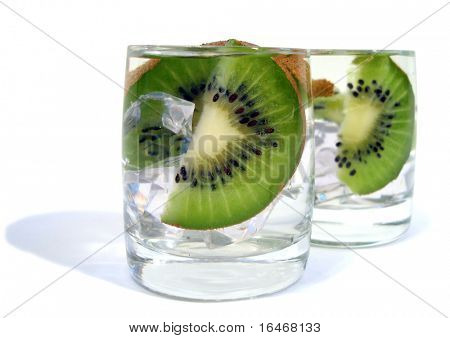two glasses of water with kiwi and ice over white