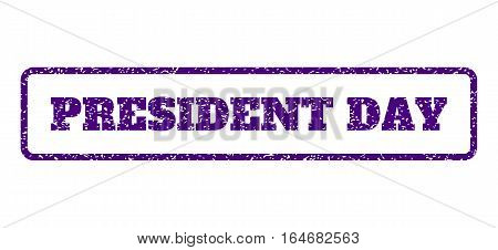 Indigo Blue rubber seal stamp with President Day text. Vector caption inside rounded rectangular shape. Grunge design and scratched texture for watermark labels.