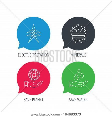 Colored speech bubbles. Save water, planet and electricity station icons. Minerals linear sign. Flat web buttons with linear icons. Vector
