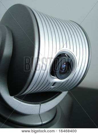 Close-up of a webcam, concept of video chatting or video conference