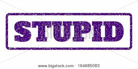 Indigo Blue rubber seal stamp with Stupid text. Vector message inside rounded rectangular frame. Grunge design and dirty texture for watermark labels. Horisontal emblem on a white background.